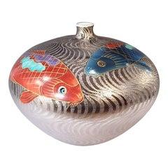 Large Japanese Platinum-Gilded Red Blue Porcelain Vase by Master Artist, 2019