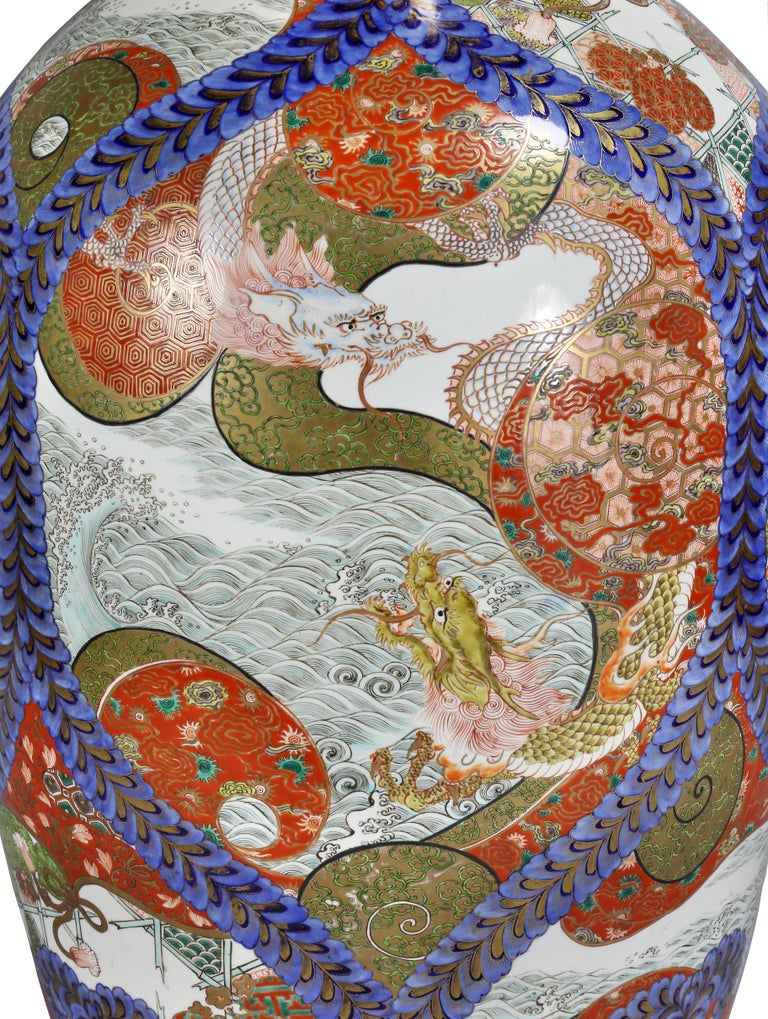 Large Japanese Porcelain Palace Vase For Sale 7