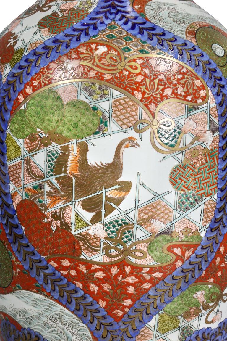 Large Japanese Porcelain Palace Vase For Sale 2