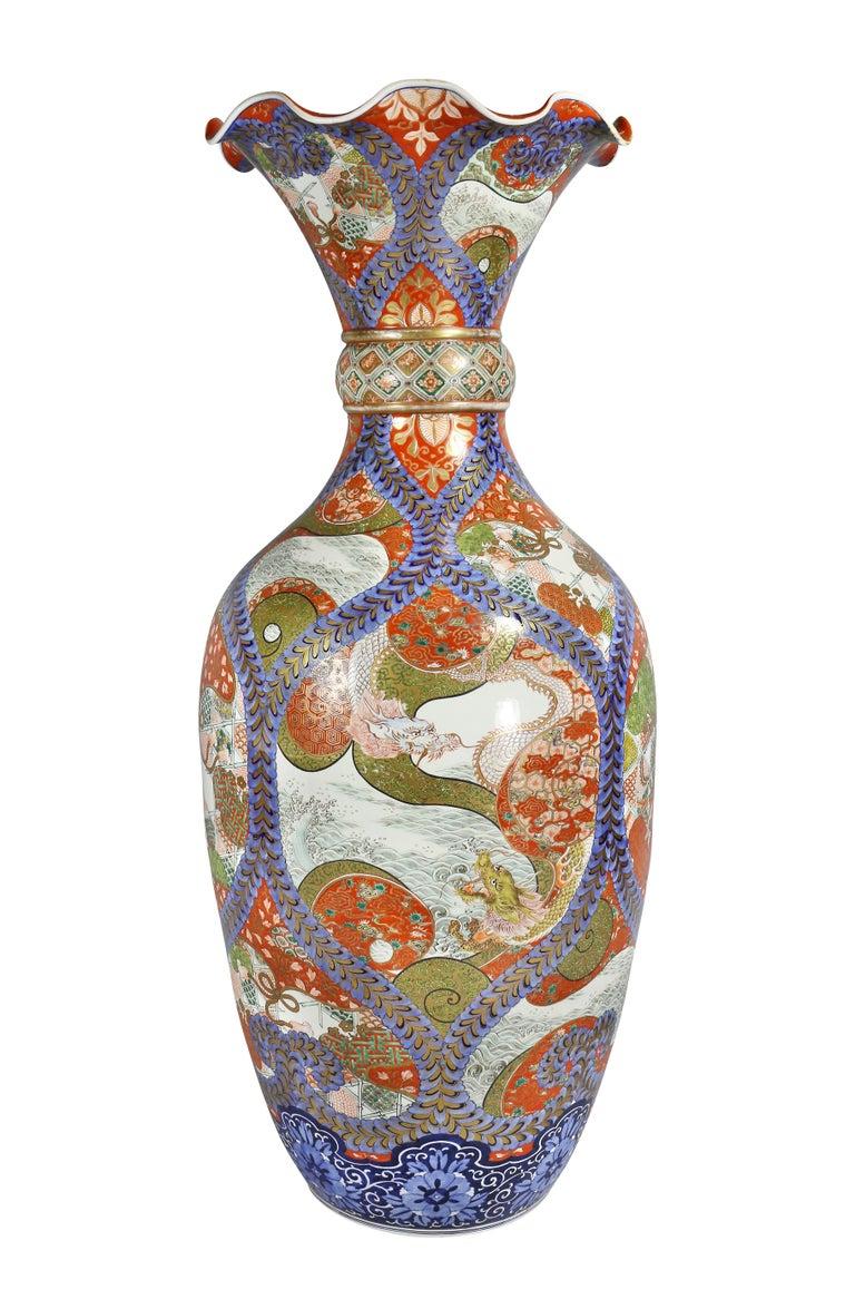 Large Japanese Porcelain Palace Vase For Sale 4
