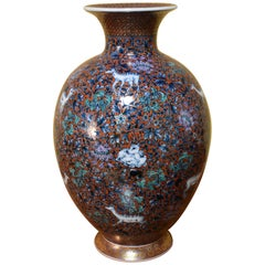 Large Japanese Red Green Hand Painted Porcelain Vase by Master Artist