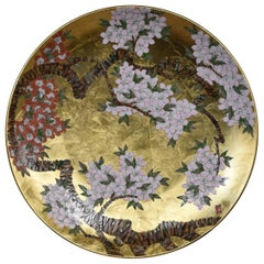 Large Japanese Red Pink Gilded Porcelain Charger by Master Artist
