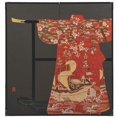 Large Japanese Silk Red Gilded Two-Panel Folding Screen