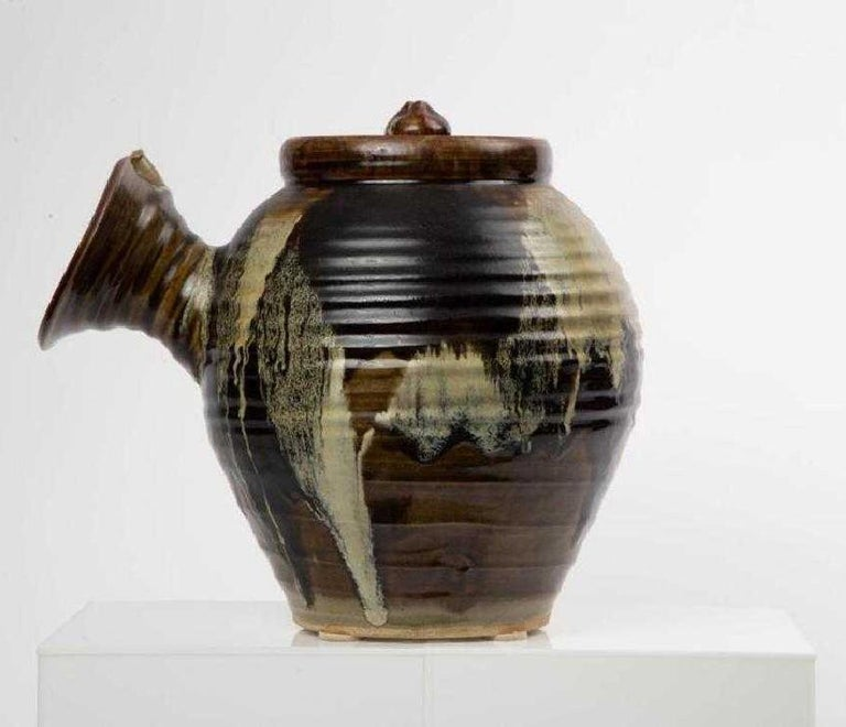 Large Japanese Tea Pot Yokode Kyusu Sculptural Pottery In Good Condition For Sale In North Miami, FL