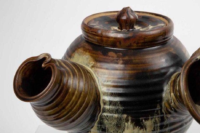 Large Japanese Tea Pot Yokode Kyusu Sculptural Pottery For Sale 1