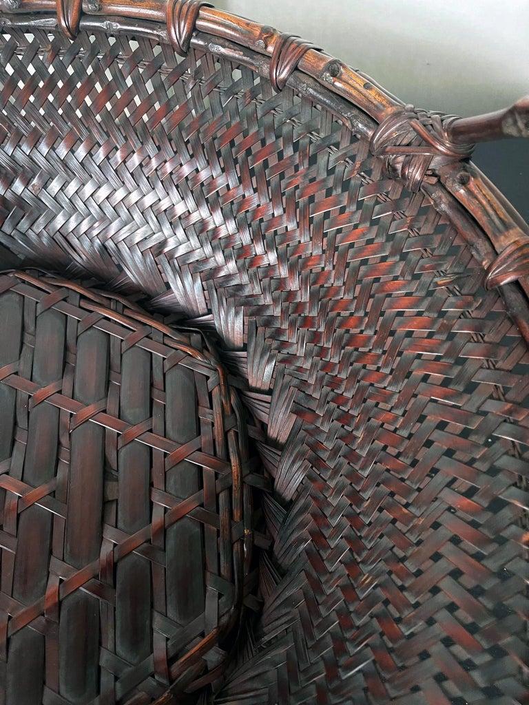 Large Japanese Woven Bamboo Morikago Basket by Maeda Chikubosai I For Sale 7