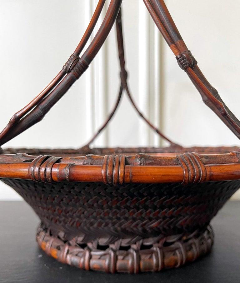 Large Japanese Woven Bamboo Morikago Basket by Maeda Chikubosai I For Sale 4