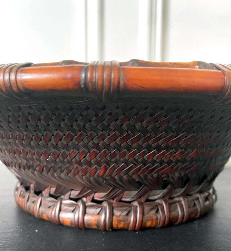 Large Japanese Woven Bamboo Morikago Basket by Maeda Chikubosai I For Sale 5