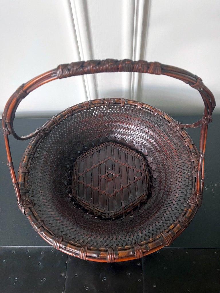 Copper Large Japanese Woven Bamboo Morikago Basket by Maeda Chikubosai I For Sale