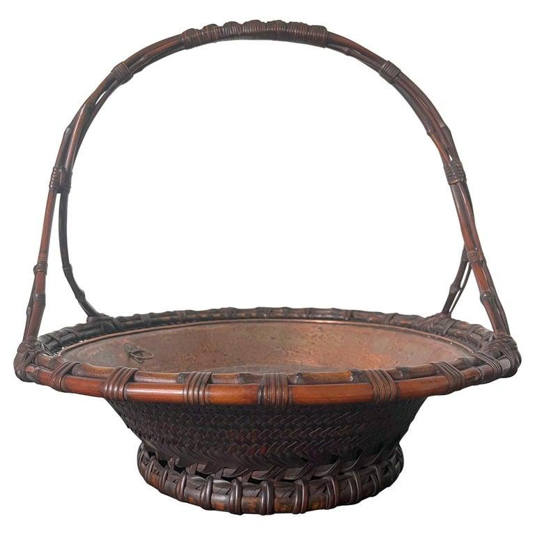 Large Japanese Woven Bamboo Morikago Basket by Maeda Chikubosai I For Sale