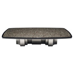 Large Jean Claude Dresse Coffee Table with Inlay of Marcasite