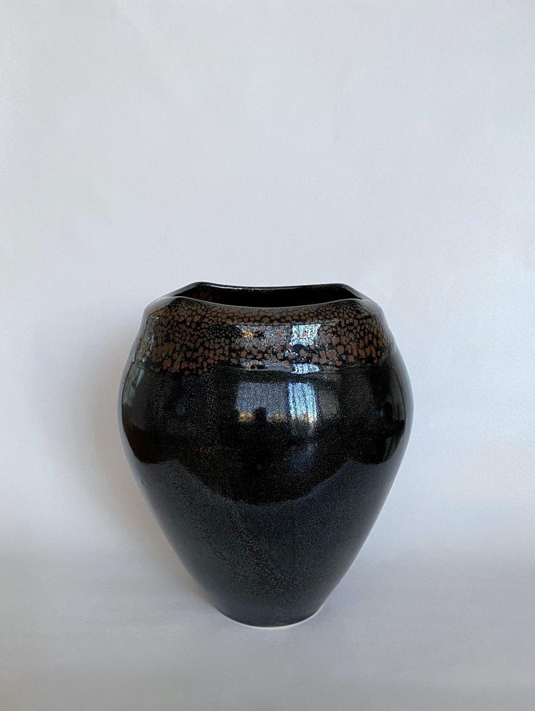 Large vase with mottled brown and black shiny enamel. Signed. 2011.  Jean Girel is a famous French ceramist art master, nominated