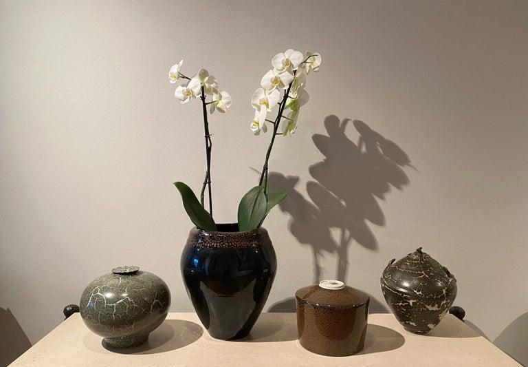 Large Jean Girel Mottled Glazed Ceramic Vase In Excellent Condition For Sale In Paris, FR