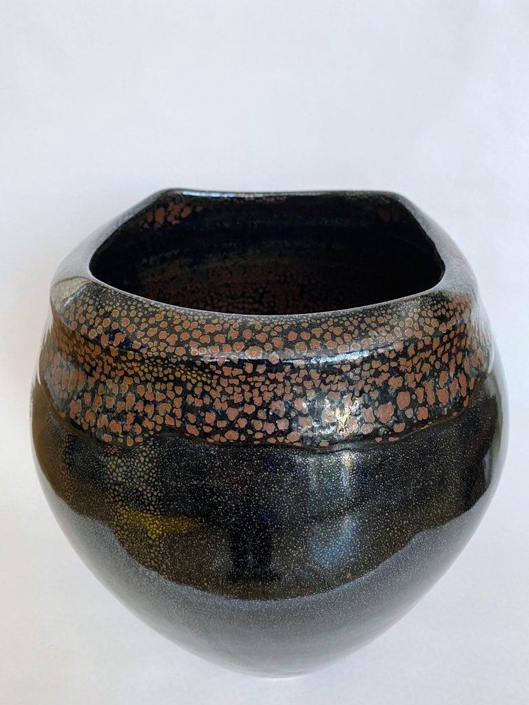 Contemporary Large Jean Girel Mottled Glazed Ceramic Vase For Sale