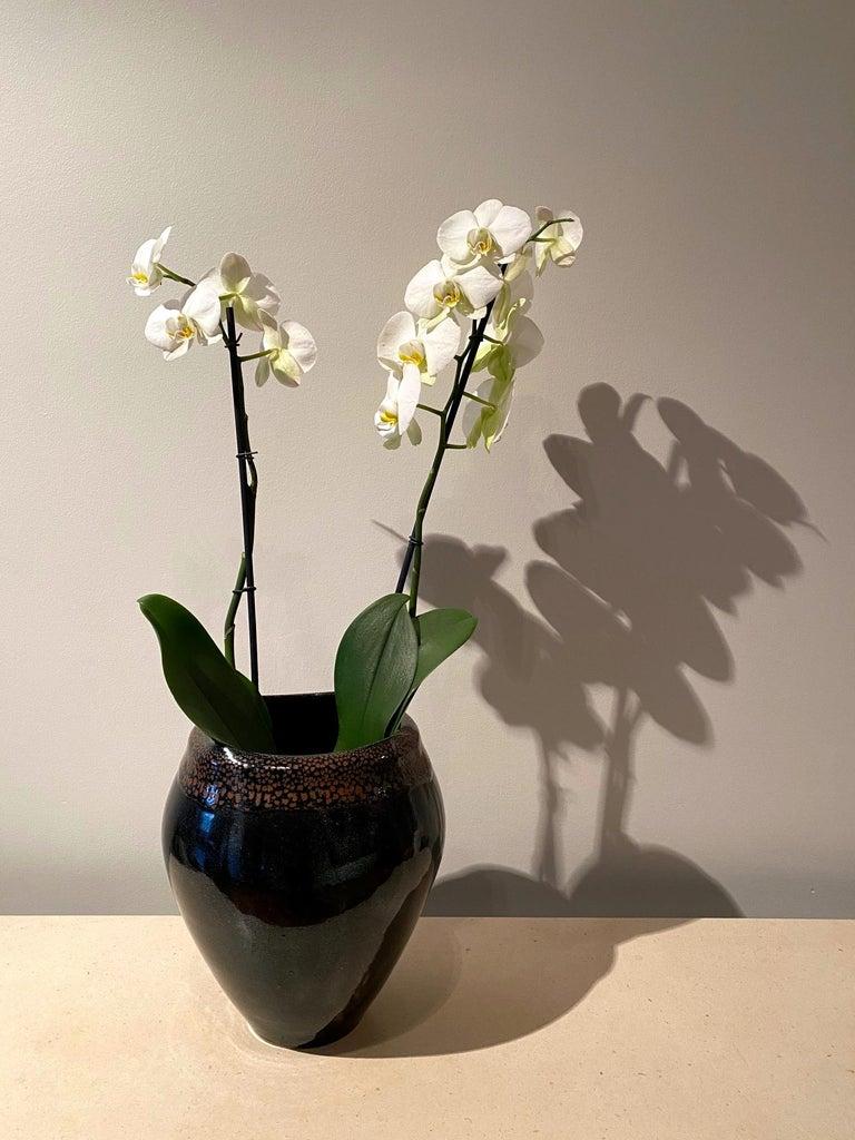 Large Jean Girel Mottled Glazed Ceramic Vase For Sale 1