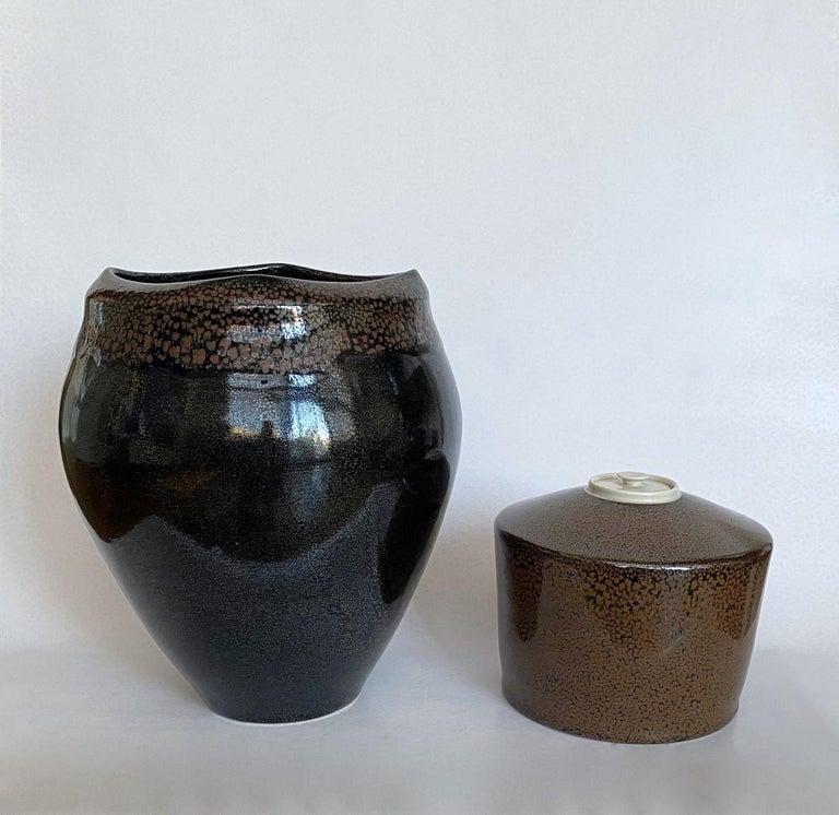 Large Jean Girel Mottled Glazed Ceramic Vase For Sale 3