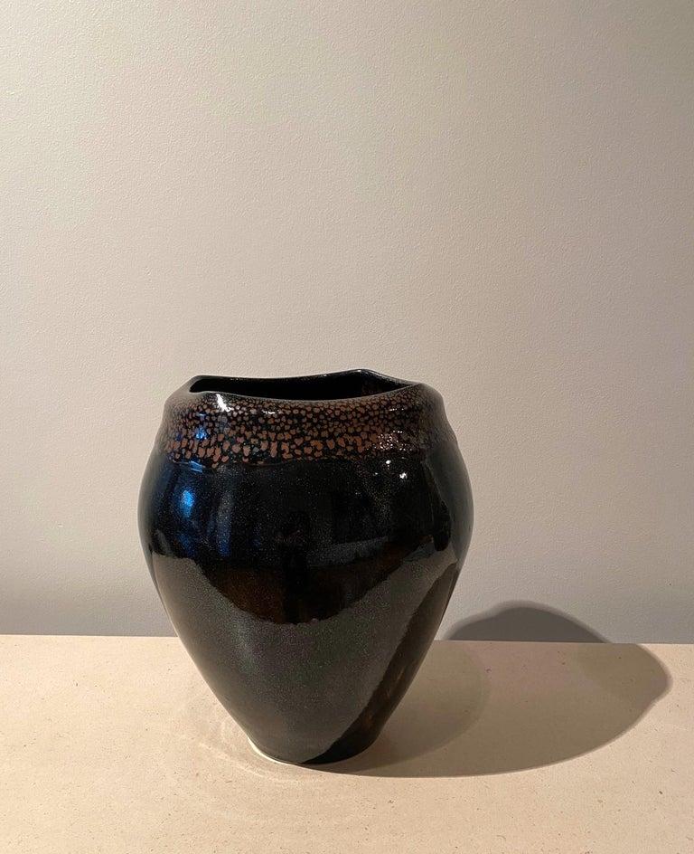Large Jean Girel Mottled Glazed Ceramic Vase For Sale 4