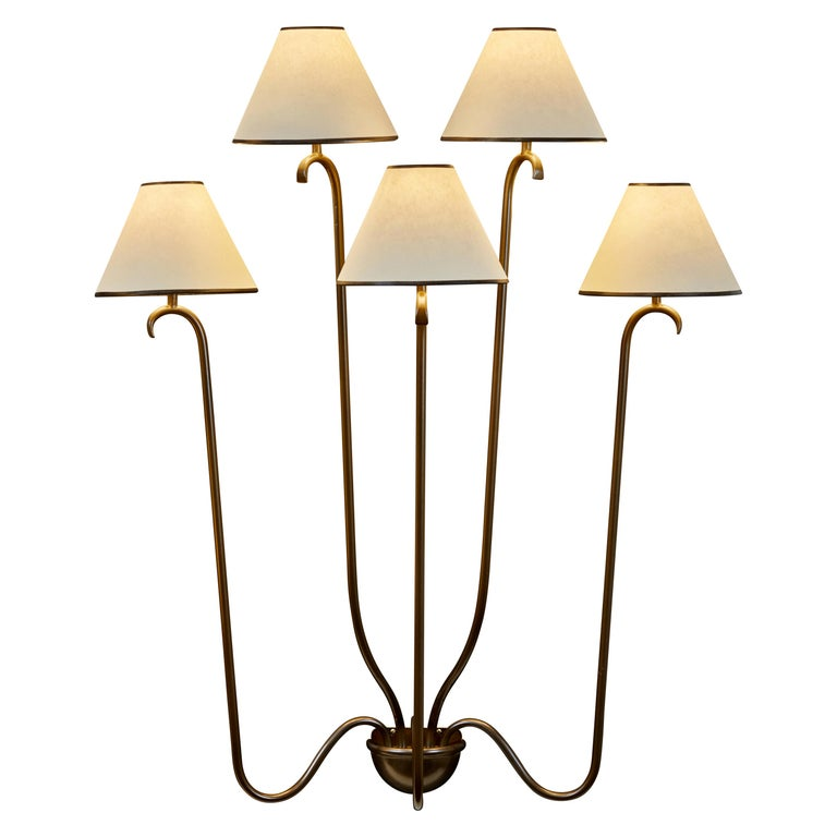 """Large """"Jet D'Eau"""" Five-Arm Wall Light in the Style of Jean Royère"""