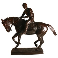 Large Jockey on Horseback Bronze, circa 1890