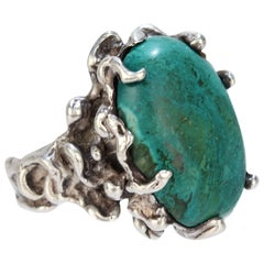 Large Joe Dean Brutalist Sterling Silver and Turquoise Cocktail Ring, 1970s
