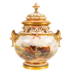 Large John Stinton Worcester Lidded Vase, with Highland Cattle