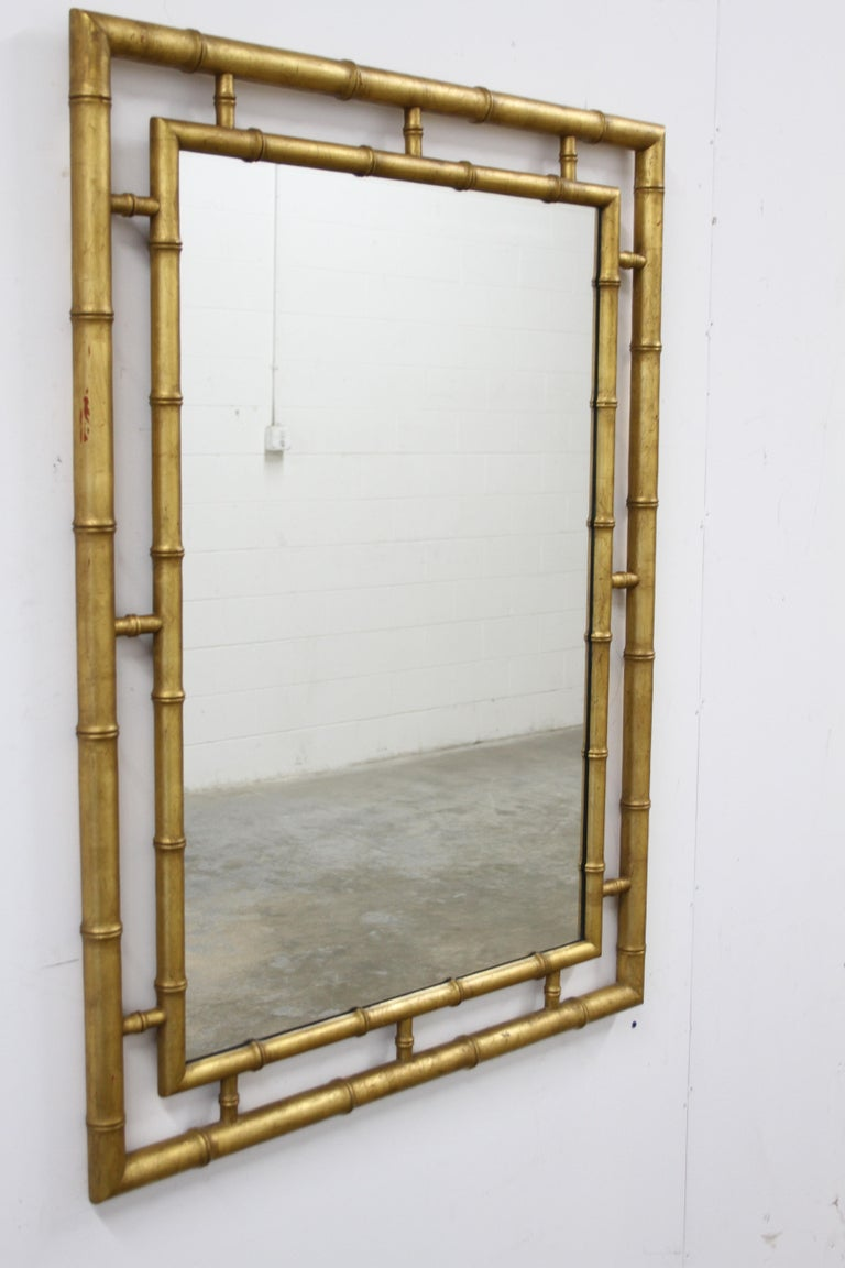 Hollywood Regency Large John Widdicomb Chinese Chippendale Style Faux Bamboo Gold Leaf Mirror For Sale