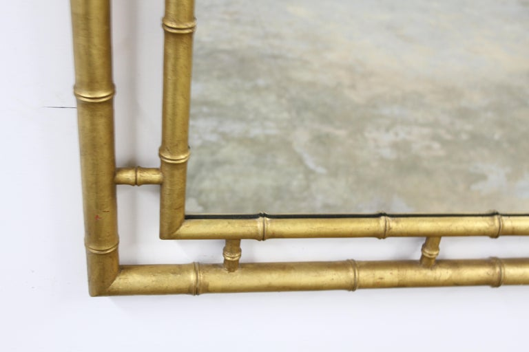 American Large John Widdicomb Chinese Chippendale Style Faux Bamboo Gold Leaf Mirror For Sale