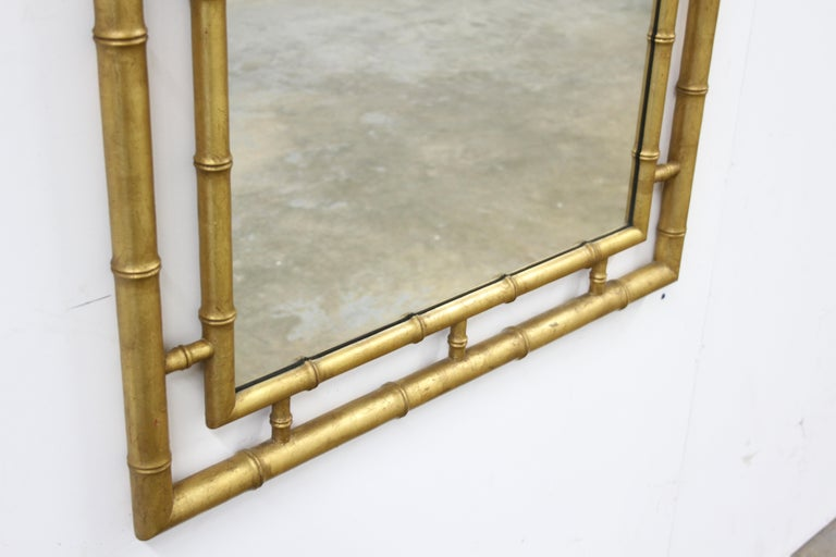 Mid-20th Century Large John Widdicomb Chinese Chippendale Style Faux Bamboo Gold Leaf Mirror For Sale
