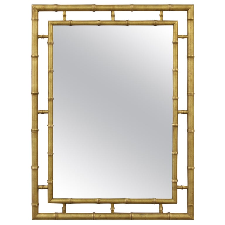 Large John Widdicomb Chinese Chippendale Style Faux Bamboo Gold Leaf Mirror For Sale