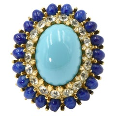 Large Jomaz Costume Turquoise Lapis Lazuli and Crystal Dome Cocktail Ring