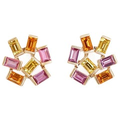 Large Jubilation Earrings with Precious Colored Gemstones