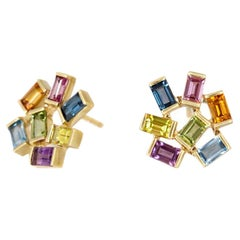 Large Jubilation Earrings with Semiprecious Colored Gemstones