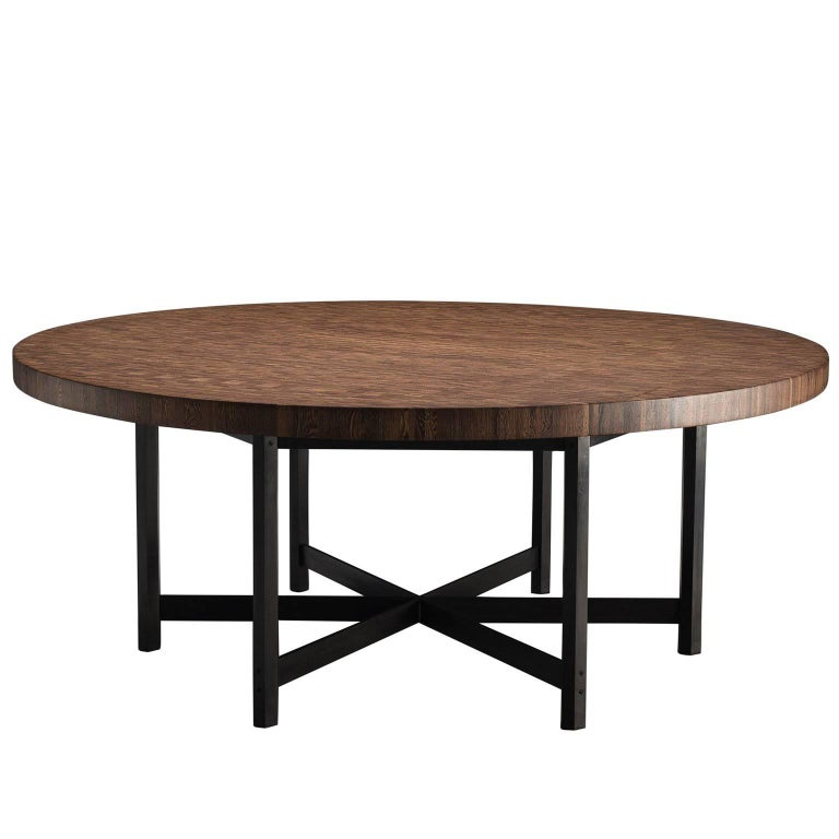 Large Jules Wabbes Wenge Table with Hexagonal Frame