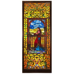 "Large ""Juliet"" Stained Glass Window Panel circa 1915, Maker Unknown"