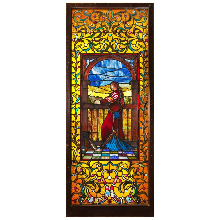 """Large """"Juliet"""" Stained Glass Window Panel circa 1915, Maker Unknown For Sale"""