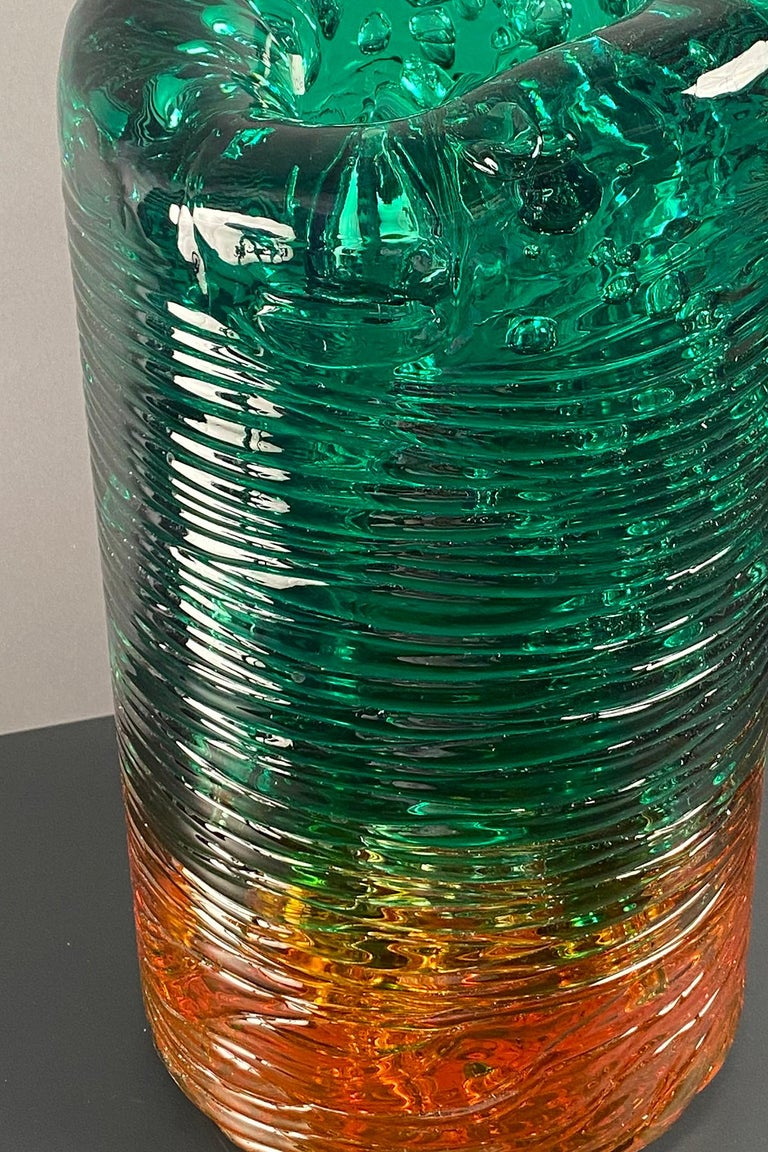 Blue methacrylate vase with air bubble inclusions throughout. Custom color combinations available.
