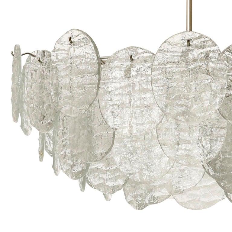 Large Kalmar 'Blatt' Chandelier, Textured Glass Nickel, 1970s For Sale 7