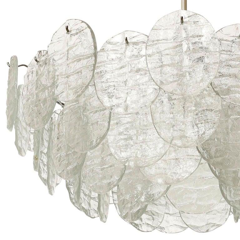 Large Kalmar 'Blatt' Chandelier, Textured Glass Nickel, 1970s For Sale 8