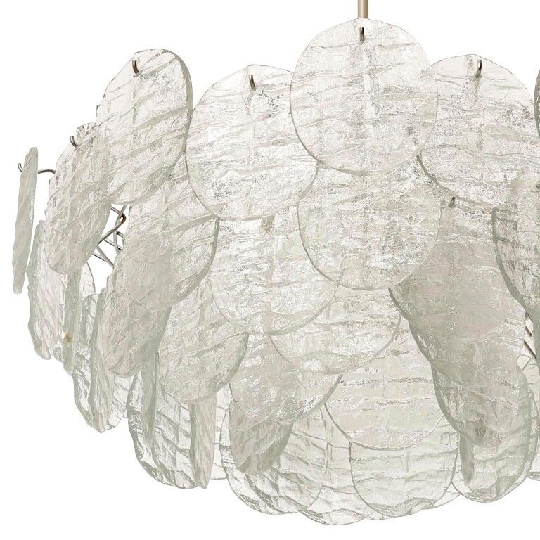 Large Kalmar 'Blatt' Chandelier, Textured Glass Nickel, 1970s For Sale 9