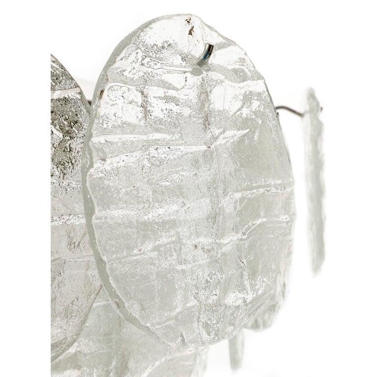 Large Kalmar 'Blatt' Chandelier, Textured Glass Nickel, 1970s For Sale 10