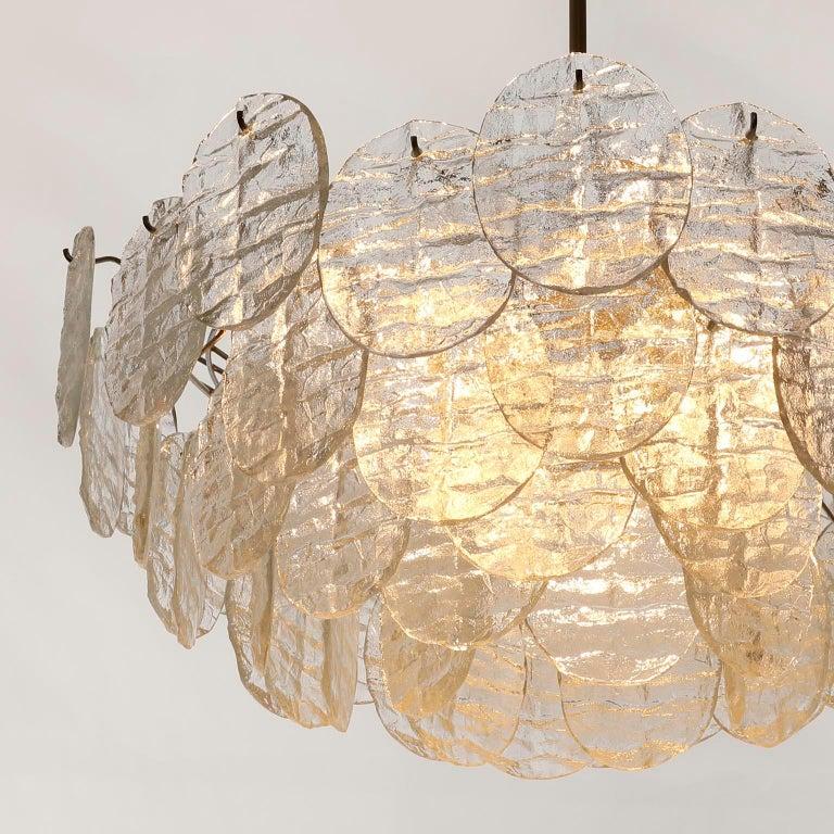 Large Kalmar 'Blatt' Chandelier, Textured Glass Nickel, 1970s For Sale 11