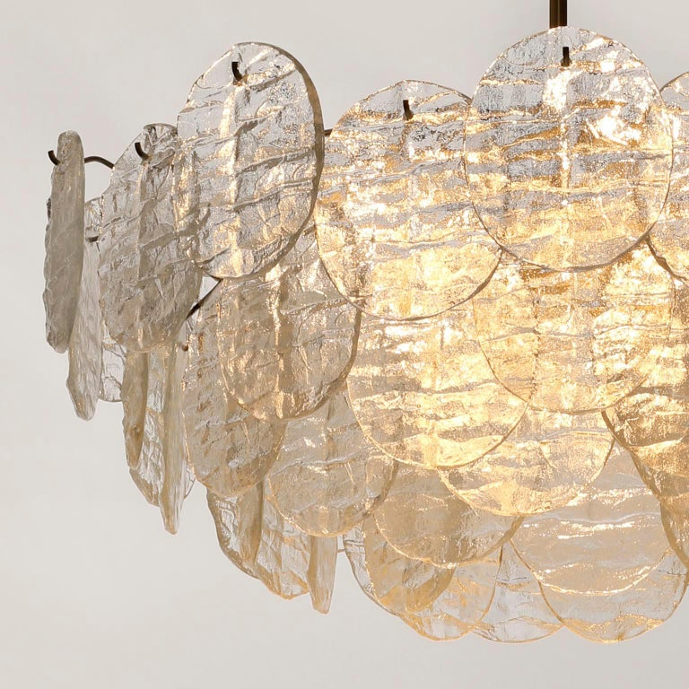 Large Kalmar 'Blatt' Chandelier, Textured Glass Nickel, 1970s For Sale 12