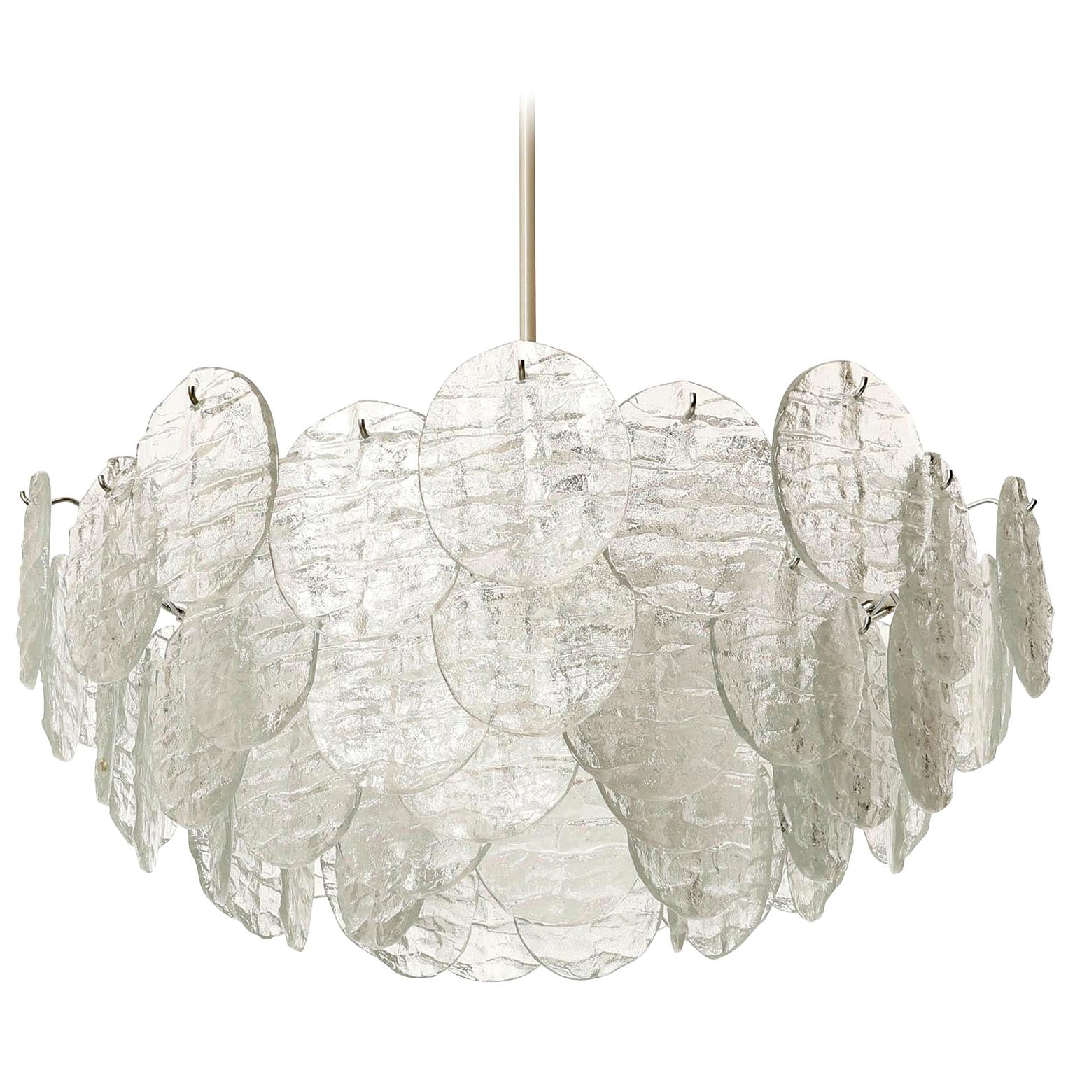 Large Kalmar 'Blatt' Chandelier, Textured Glass Nickel, 1970s