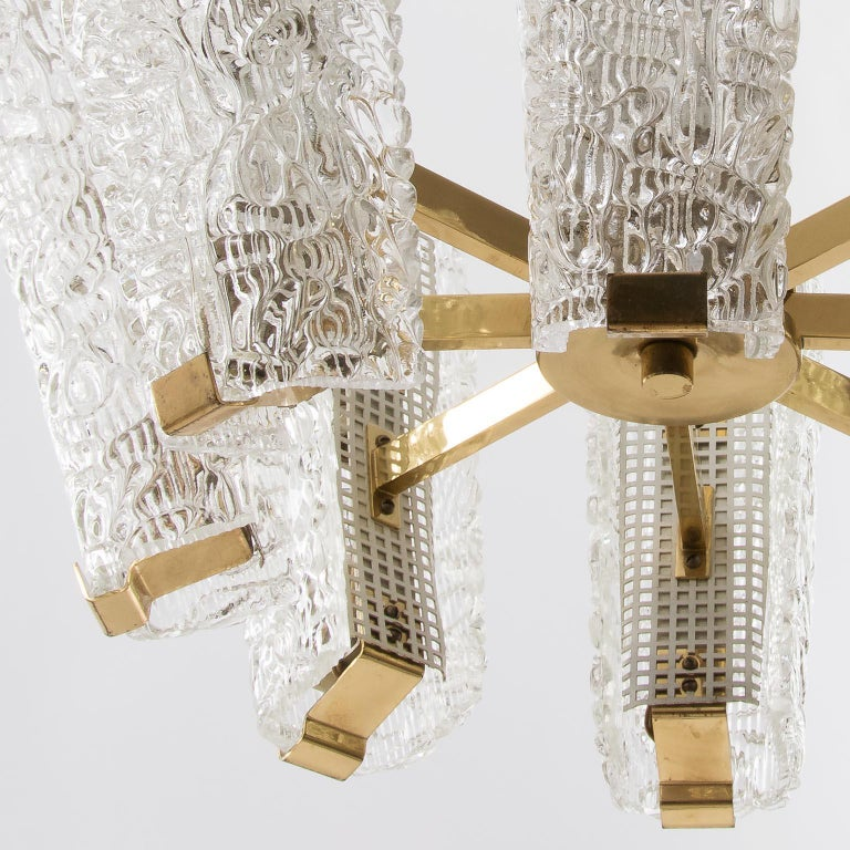 Large Kalmar Chandelier, Brass and Textured Glass, 1950s, 1 of 4 For Sale 5