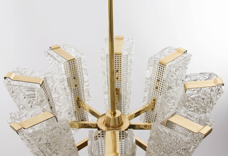 Large Kalmar Chandelier, Brass and Textured Glass, 1950s, 1 of 4 For Sale 6