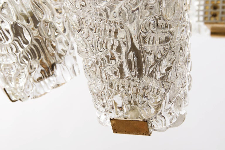 Large Kalmar Chandelier, Brass and Textured Glass, 1950s, 1 of 4 For Sale 7