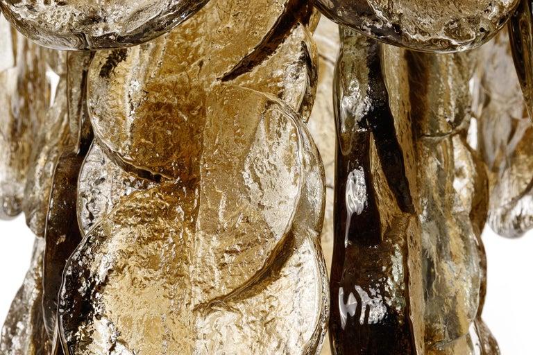 Large Kalmar Chandelier Pendant Light 'Citrus', Brass Amber Glass, 1970s For Sale 5