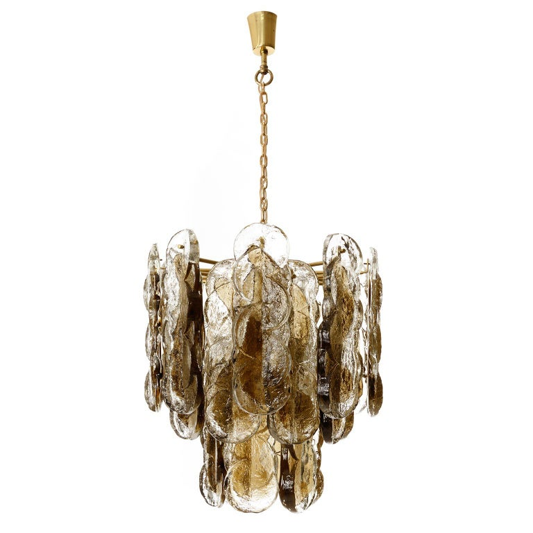 A large and gorgeous chandelier model 'Citrus' by Austrian light maker J.T. Kalmar, manufactured in midcentury, circa 1970 (late 1960s or early 1970s). The light is documented in the Kalmar catalogue from the 1970s. 24 large bi-colored (clear and