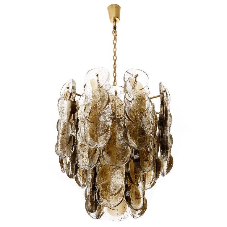 Mid-Century Modern Large Kalmar Chandelier Pendant Light 'Citrus', Brass Amber Glass, 1970s For Sale