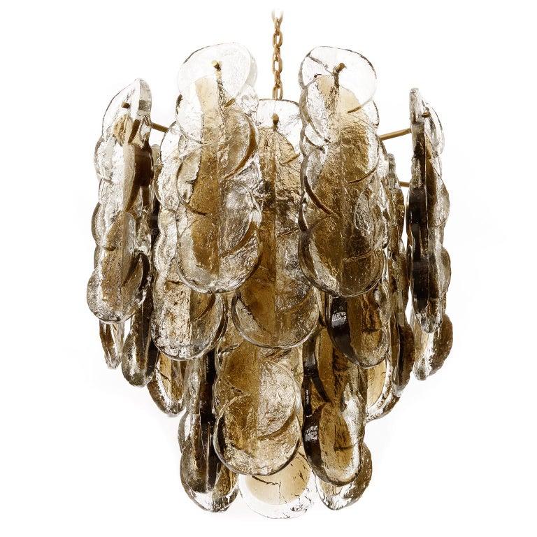 Late 20th Century Large Kalmar Chandelier Pendant Light 'Citrus', Brass Amber Glass, 1970s For Sale